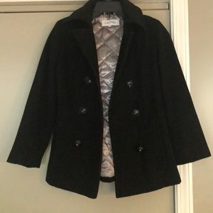 Calvin Klein black pea coat with hood size 0